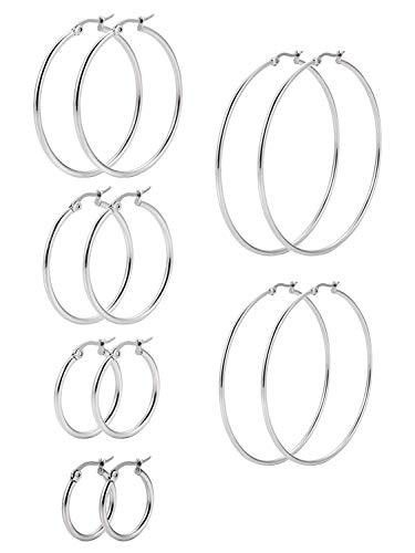SNAGAROG 6 Paar Runde Ohrringe Set,Damen Silber ohrschmuck Edelstahlohrringe hypoallergene Ohrringe,6 Größen creolen Silber Set, geeignet für Damen und Mädchen