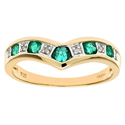 Naava 9 ct Yellow Gold Women's Diamond and Emerald Ring