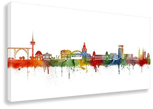 Kunstbruder Leinwandbild - Wuppertal Skyline Light (div. Formate) - Wandbild Kunst Druck Streetart Panorama Dekoration Loftbild 70x140cm