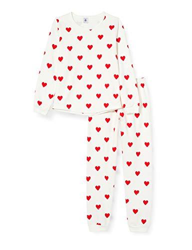 Petit Bateau 5856301 Kinder-Pyjama, Bedruckt, Herzen aus Molton, für Mädchen Gr. 2 Jahre, Marshmallow/Terkuit