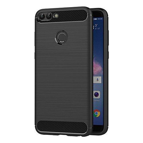 AICEK Funda Huawei P Smart, Negro Silicona Fundas para Huawei P Smart Carcasa Huawei P Smart Fibra de Carbono Funda Case (5,65 Pulgadas)