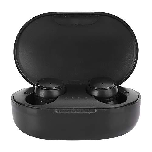 Auricular Bluetooth inalámbrico verdadero 5.0, A6S Llamada binaural Estéreo incorporado Micrófono Auricular con reducción de ruido con estuche de carga Auriculares deportivos impermeables(Negr