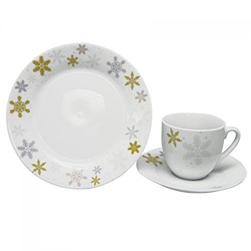 Van Well 18tlg. Kaffeeservice Golden Star Porzellan weiß mit winterlichem Motiv, Kaffeetassen + Untertassen + Kuchenteller, Kaffeegedeck, Geschirr-Set