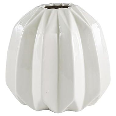 Rivet Modern Angled Stoneware Vase, 5.5 H, White