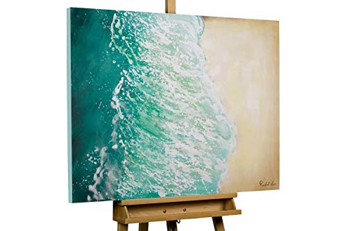 KunstLoft® Acryl Gemälde 'Sommer in Ibiza' 100x75cm | original handgemalte Leinwand Bilder XXL | Modern Meer Strand Beige Türkis | Wandbild Acrylbild Moderne Kunst einteilig mit Rahmen