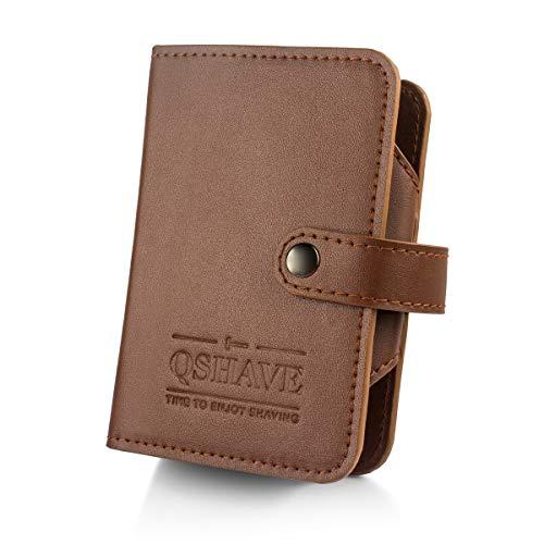 QSHAVE Étui de voyage en cuir avec compartiment pour rasoir de sécurité, blaireau, lames et coupe-ongles Marron