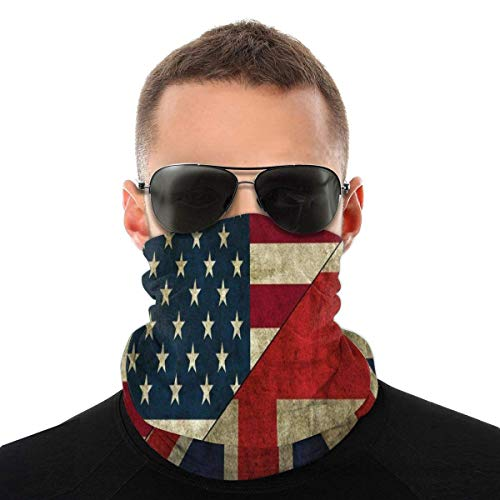 HAMANY British American Flag Half Face Cover Durable Neck Gaiter Breathable Mouth Cover Soft Mouth Muffle Unisex Headwear for Shopping Climbing Outdoor