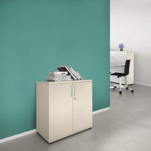 Weber Büroleben GmbH Uni Aktenschrank abschließbar 2OH Ahorn Schrank Büroschrank Flügeltürenschrank