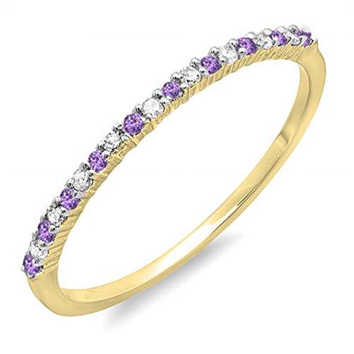 Dazzlingrock Collection 14K Round Amethyst & White Diamond Ladies Anniversary Wedding Band Ring, Yellow Gold, Size 6.5