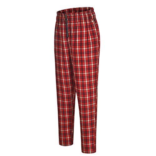 Lazzboy Women Chino Carrot Trousers High Waist Lattice Plaid Checkered Print Zipper Long Pants Ladies Trouser(S(8),Red)