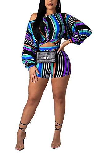 Women Sexy Two Piece Striped Print Puff Sleeve Off Shoulder Jumpsuits Crop Top Short Pants Set Outfits Blue XXL