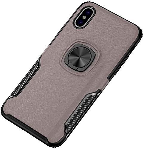 Accesorios para Teléfonos Celulares Compatibles con iPhone X/XS, Caja Magnética De Coche a Prueba De Golpes con Anillo De Armadura De Oro De 360 Grados para iPhone X/XS (Color : Rose Gold)