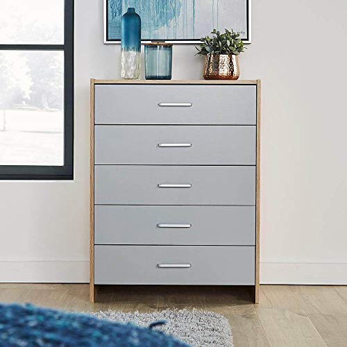 Home Source Oak Chest of Drawers Bedroom Furniture with Metal Runners, Grey, 5