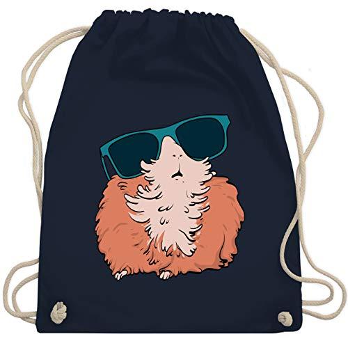Shirtracer Tiere Meerschweinchen Hase & Co. - Meerschweinchen mit Sonnenbrille - Unisize - Navy Blau - WM110 - WM110 - Turnbeutel und Stoffbeutel aus Baumwolle