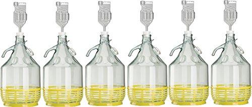 lilawelt24 6 x Set 5L Bügelflasche + Stopfen + Gärröhrchen Weinballon Gärballon Glasflasche Bügelverschluß Gärbehälter