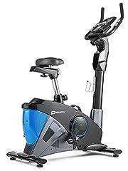 Hop-Sport hometrainer HS-090H incl. basismat - ergometer met app-bediening, 12 trainingsprogramma's, 32 computergestuurde weerstandsniveaus - fitnessfiets max. gebruikersgewicht 150 kg Blauw*