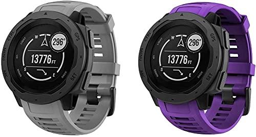 Classicase Correa de Reloj Recambios Correa Relojes Caucho Compatible con Garmin Instinct Solar Surf/Camo/Tactical/Esports Edition - Silicona Correa Reloj con Hebilla (Pattern 4+Pattern 5)