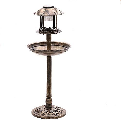 Novaliv Vogelhotel mit LED-Lampe Vogeltränke und Futterplatz Bronze Kunststoff Vogelfutterstation Vogelhaus Futterhaus Futterhäuschen für Wildvögel (Vogelhotel mit Solarlampe, Bronze)