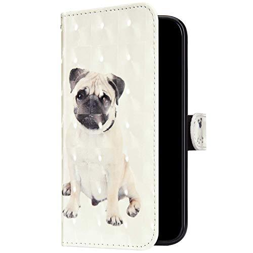 Uposao Kompatibel mit Huawei Mate 20 Pro Hülle Leder Handyhülle Glänzend Glitzer Bling Bunt Muster Wallet Hülle Klapphülle Brieftasche Schutzhülle Flip Case Magnet Kartenfach,Haustier