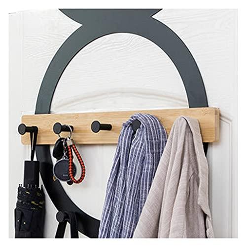 OMYLFQ Ganchos de Puertas, Perchas de Puerta de Acero Inoxidable, Perchero sobre talladoras para Colgantes de Abrigos Ropa Sombrillas Robas Negro 6Hooks (Color : Black)