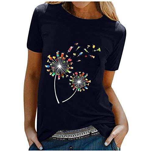 T Shirt Damen Kurzarm Oberteile Sommer locker Tunika Tops Oversize Elegant Rundhals Bunte Löwenzahn Drucken Basic Shirt Pullover Blusenshirt Hemd Bluse für Frauen Teenager Mädchen große größen