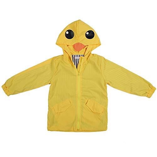 Chubasquero Chaqueta Impermeable para niños, Raincoat Chubasquero para Niños pato impermeable lindo de dibujos animados sudadera con capucha cremallera ligera ropa impermeable (110)
