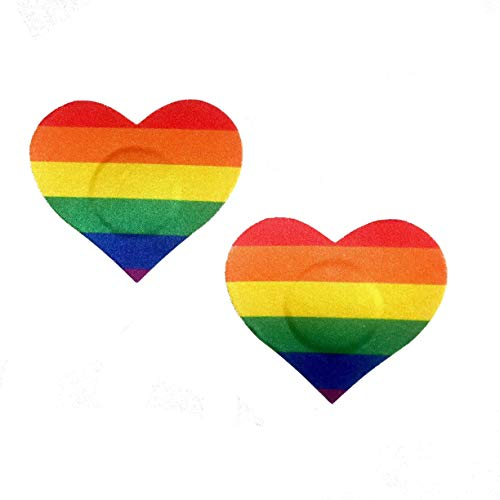 Wild&Happy Rainbow Pride Heart Pasties | Rainbow LGBT Pride Nipple Covers for Parades Festivals Raves | Satin Fabric | Handmade with love in USA