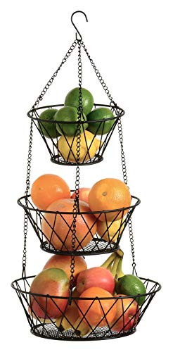 Heavy Duty - 3 Tier Hanging Kitchen Black Fruit Basket