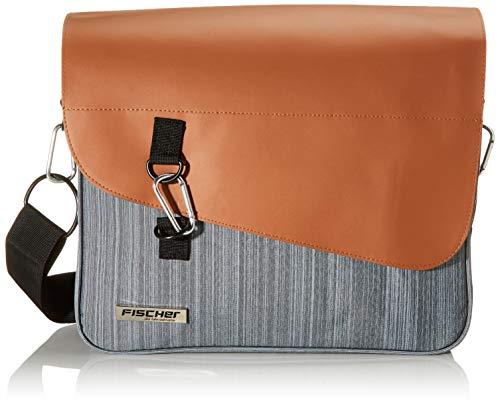 FISCHER Business Tasche mit Gepäckträgerbefestigung, inkl. verstellbarem Schultergurt, Volumen ca. 14 L, Grau/Braun