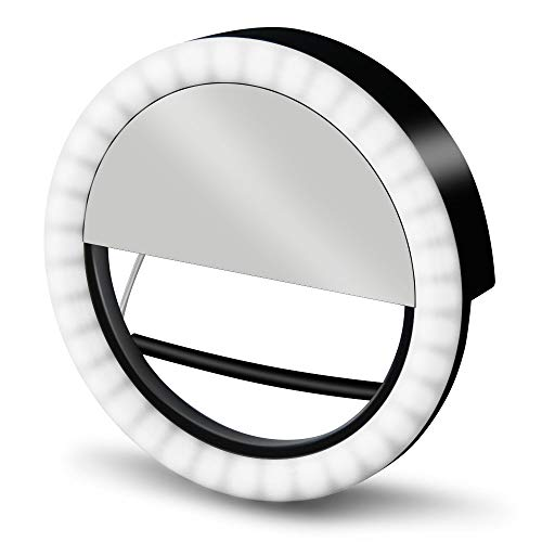 GLOUE Selfie Light Ring LED Round Clip self-Timer Fill Light with 36 LED Bubbles, 3 Levels of Brightness, Rechargeable and Portable, for iPhone/Android, Smartphone, Tablet, with Makeup Mirror