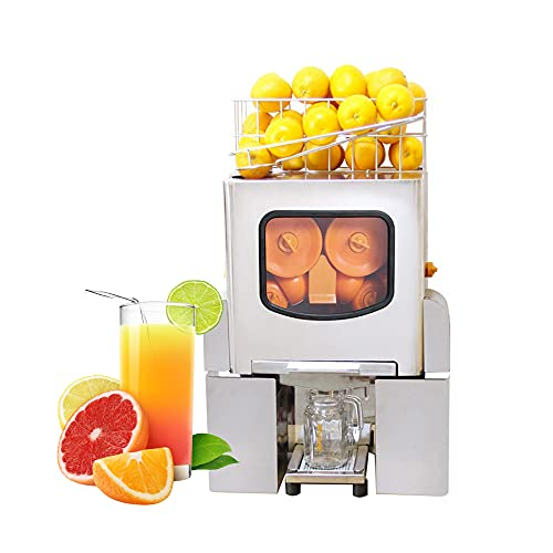 Máquina exprimidora de naranja comercial,Exprimidor de jugo de cítricos eléctrico Máquina automática de jugo de naranja fresco Acero inoxidable Alimentación automática 120W, 20-30 naranjas/min