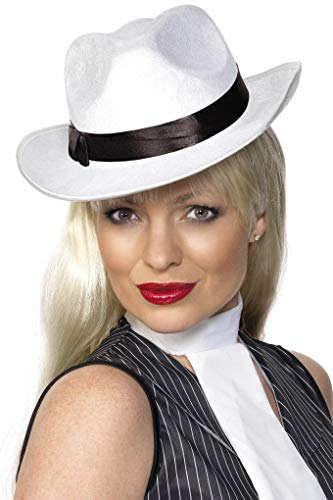 Smiffys Unisex Gangster Hut mit Band, One Size, Weiß, 25981