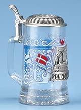 Scandinavia Finland Denmark Sweden Norway Glass Beer Stein w/ Pewter Viking Ship, Viking Helmet, German Collectible Beer Stein