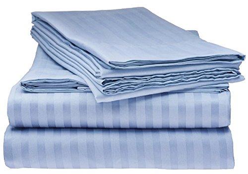 Elaine Karen Collection 1500 Thread Count Striped 4PC Full Sheet Set Light Blue
