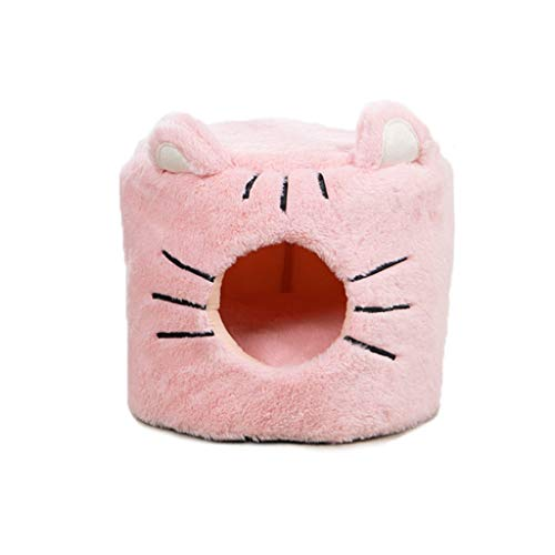 LINGDANG Coral Velvet Self-Warming 2 in 1 Foldable Cave House Shape Pet Sleeping Bed, Pet Tent Soft Bed for Dog and Cat Pet Litter Small Dog Mat Best Pet Supplies (A-Pink-S)