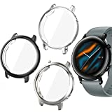 Jvchengxi Protector de Pantalla para Huawei Watch GT 2 de 42mm, (3 Pack) de TPU Suave Resistente a los arañazos a Prueba de arañazos Carcasa Protector para Huawei GT2 (Negro/Plata/Claro)