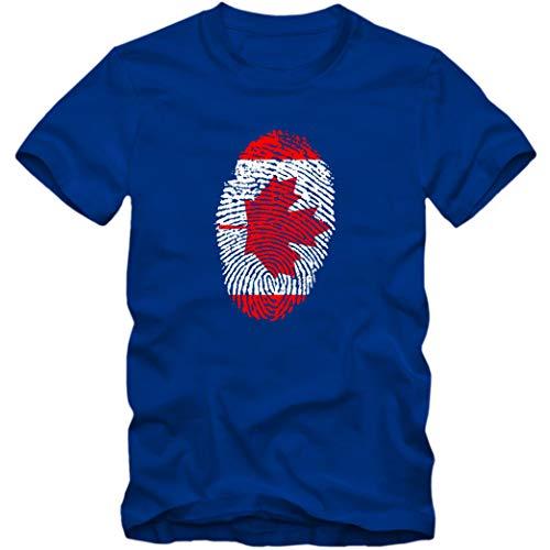 Herren T-Shirt Canada Kanada Ahorn Blatt Eishockey Fußball Trikot Fingerabdruck WM EM, Farbe:blau, Größe:M