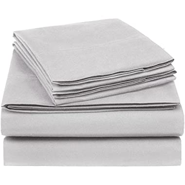 AmazonBasics Essential Cotton Blend Sheet Set -King, Light Grey