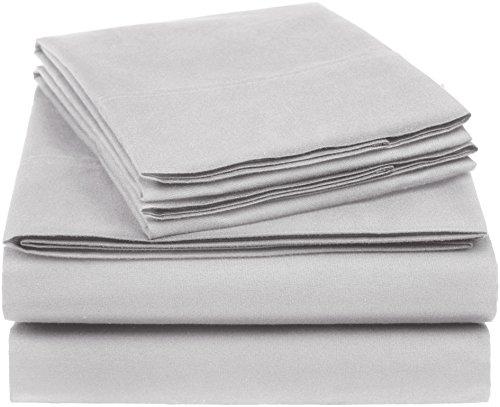 AmazonBasics Essential Cotton Blend Bed Sheet Set, Queen, Light Grey
