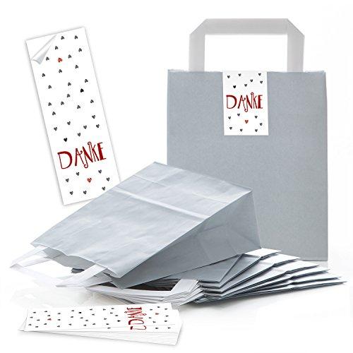 10 kleine graue Geschenktüte Papiertüte Geschenk-Beutel 18 x 8 x 22 cm + 10 Aufkleber Sticker DANKE rot grau HERZEN - Geschenktüten give-aways Kunden-Geschenke Verpackung Tüte