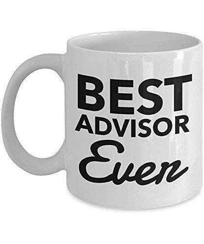 Divertida taza de café, regalo de asesor - Best Ever taza de té de cerámica blanca, ideas de regalo de agradecimiento para cumpleaños y Navidad, taza de porcelana personalizada de 12 onzas