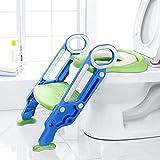 Aseo Escalera, Dalmo DBPW01L Asiento Escalera del Tocador de Niños Dalmo Asiento para WC con Escalón Plegable Asiento para Inodoro de Bebé Orinal Formación, Antideslizante, Altura Ajustable Azul
