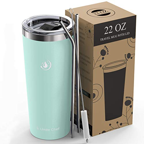 Umite Chef 22oz Tumbler Insulated Stainless Steel Travel Tumbler Mug with Lid, 2 Straws & Brush...