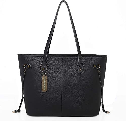 Montana West Women's Genuine Leather Concealed Carry Purse Tote Shoulder Handbags Large Laptop Bags Black CW-MWL-002BK
