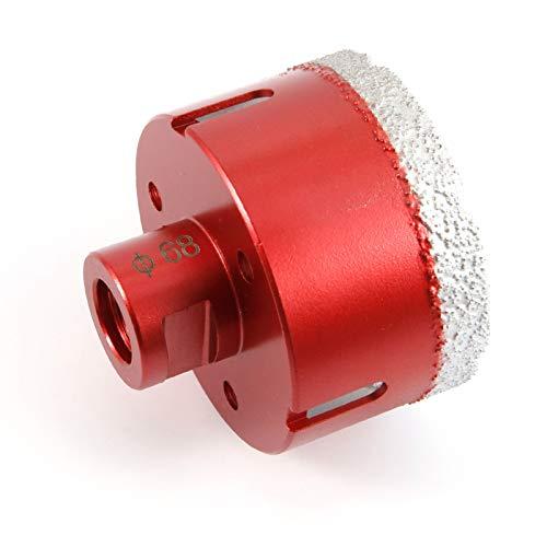 Anladia Premium Diamant-Bohrkrone Fliese Feinsteinzeug Fliesenbohrkrone Vakuumgeloetete 68 mm x M14 PDX955.880 68mm passend Fuer Winkelschleifer Bohrmaschine Porzellan Granit Marmor Trockenbohren Rot