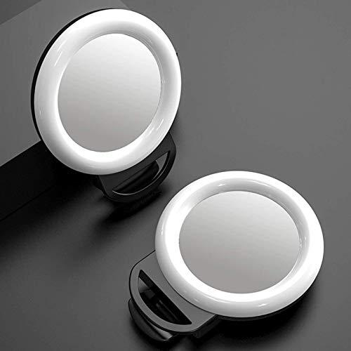 Luz LED para selfies con anillo de luz complementaria para la noche, para teléfonos inteligentes 2 en 1 lentes de llenado, cámara móvil de belleza Selfie, lente roja de la red del teléfono móvil, B