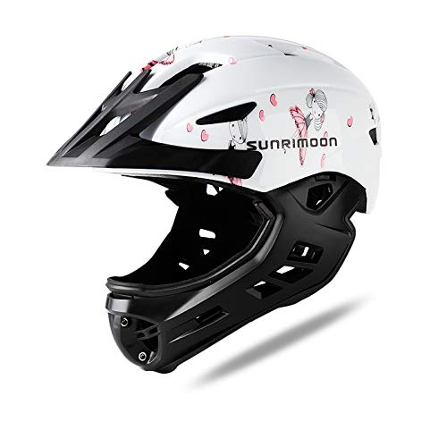 Kids Full Face Helmet - Children Bike Helmet Removable Chin Guard Cheek Pads Visor Taillight 49-58cm for 3-5 Years old Girls