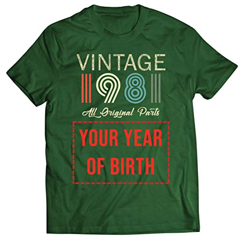 lepni.me Camisetas Hombre Personalizado con Cualquier Año Regalo Vintage Todas Las Piezas Originales (X-Large Verde Oscuro Multicolor)