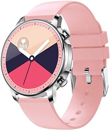 Reloj inteligente 2021 hombres mujeres pantalla completa táctil IP67 impermeable ritmo cardíaco monitor de sangre para IOS Android Sport Smart Watch - rosa