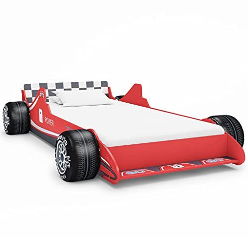 Barnsängar småbarn sängar barnens racerbil säng 90 x 200 cm röd